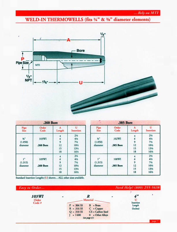 Thermowells catalog page